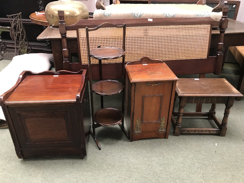 Lot 39 - Cake stand, coal box, wooden stool, nest of tables (3) bed head, square table, pie crust wine