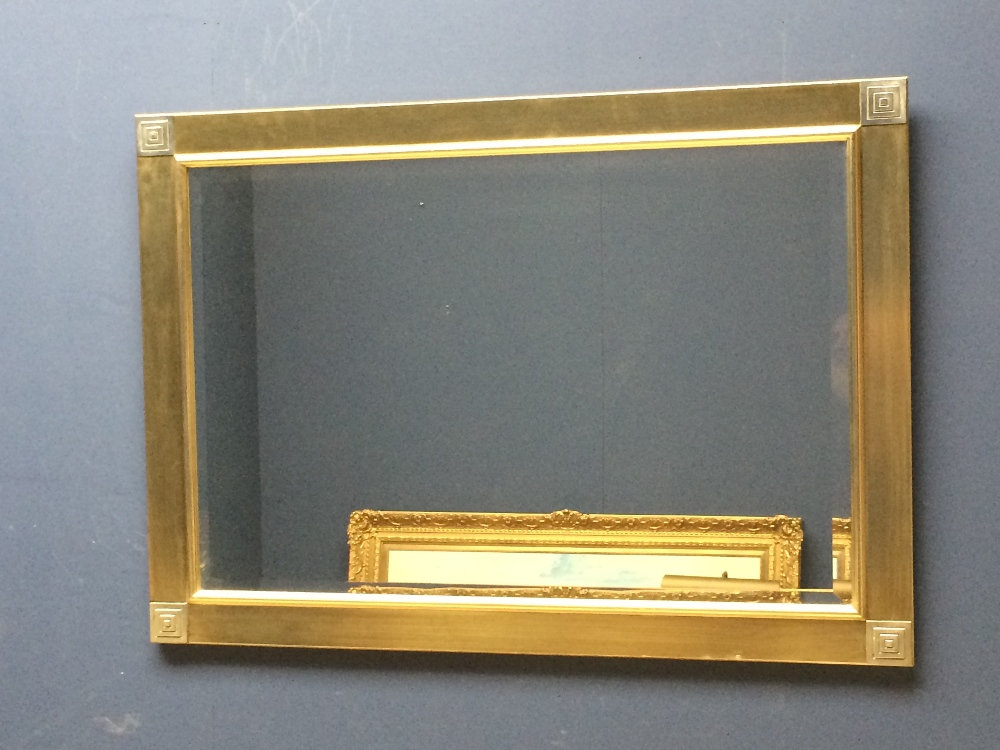 Lot 15 - Modern rectangular mirror with bevelled glass 106 x 76 cm & Curtain tie backs & modern square mirror