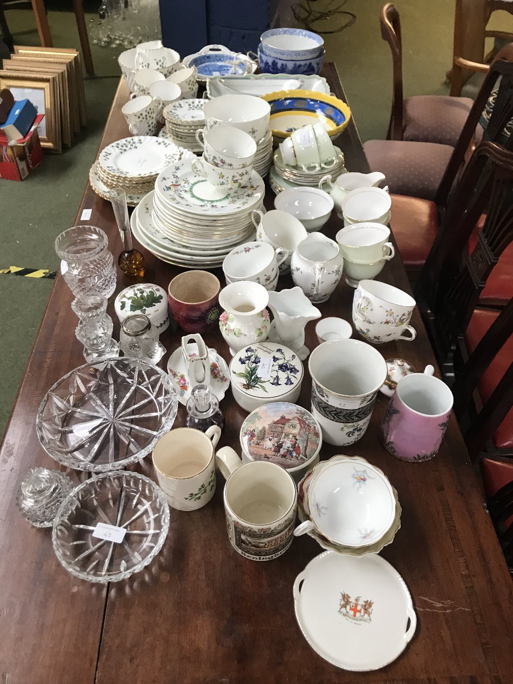 Lot 42 - Qty of china including 3 tea services (Staffordshire, Mintons, Colclough) & a small qty of glass