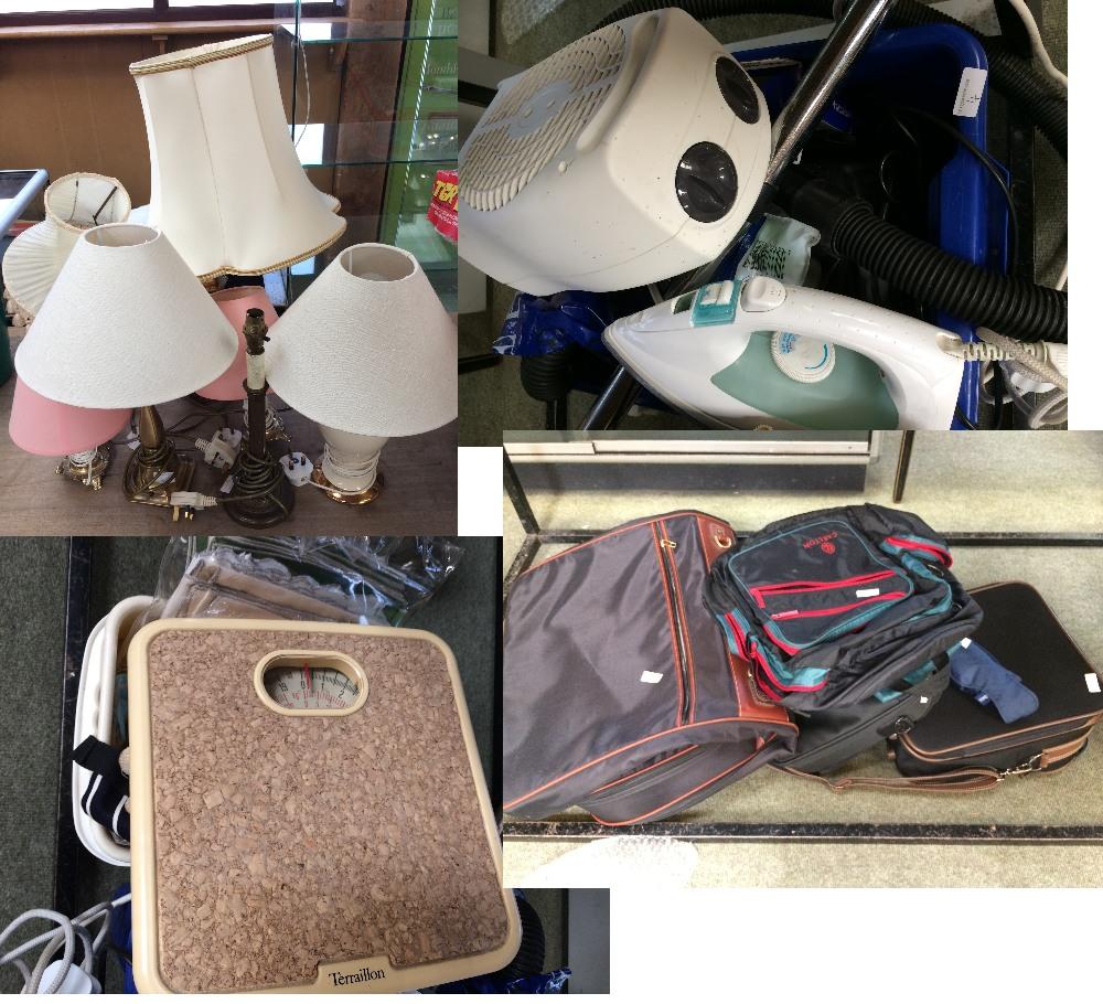 Lot 4 - A number of desk lights, various domestic appliances, bags,umbrellas etc