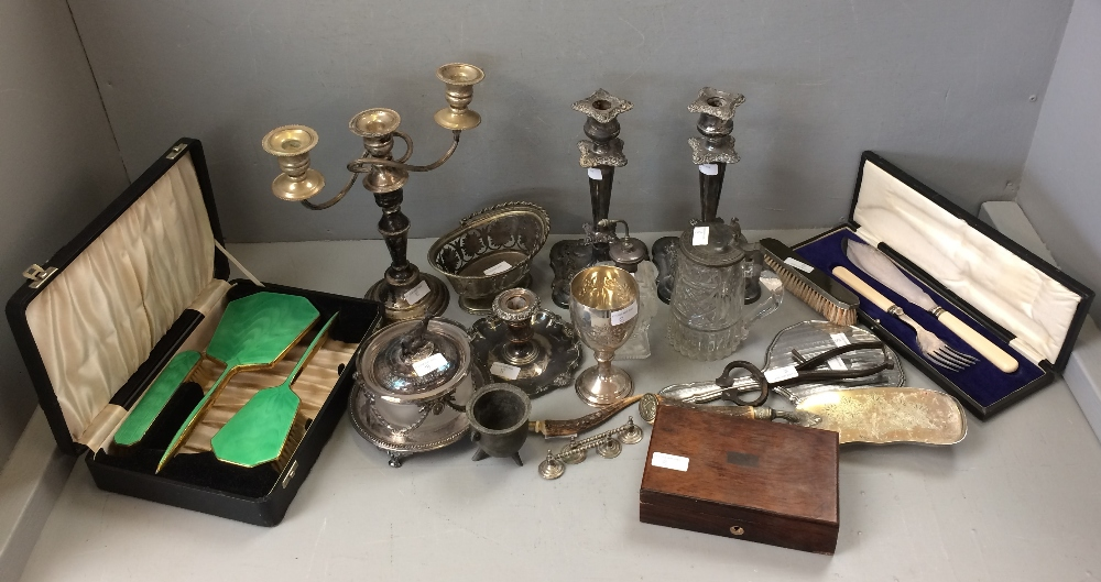 Lot 8 - Cased dressing table set, cased fish slice & a quantity of glass & metal ware