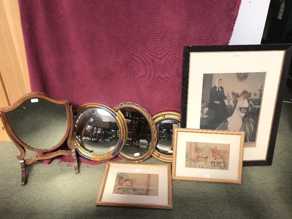 Lot 40 - 3 Circular wall mirrors, shield shape dressing table mirror & print & 2 watercolours framed & glazed