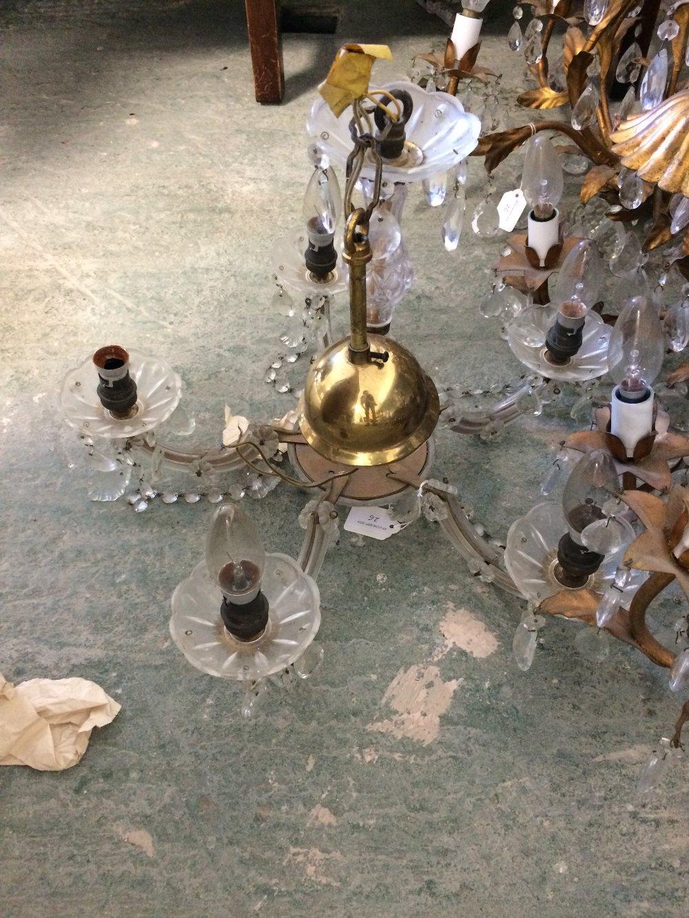 Lot 26 - 3 Gilt metal 5 branch candelabra & another