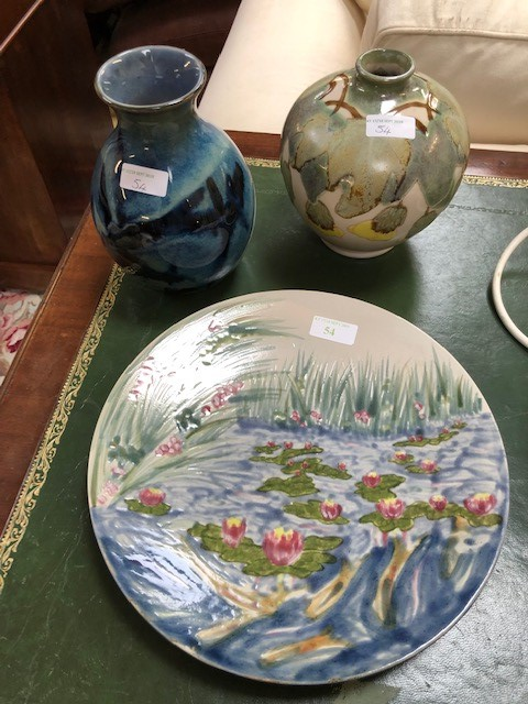 Lot 54 - 3 Cobridge items, stone ware dolphin vase marks to base J S R W c98 18cm h, pottery bulbous vase