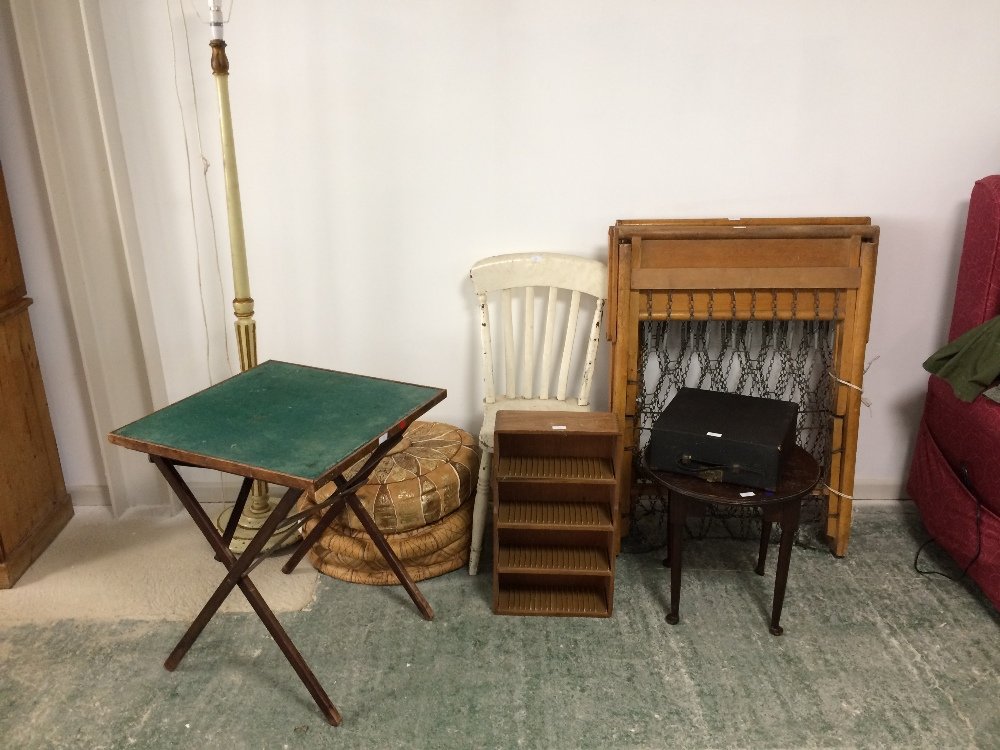 Lot 38 - 2 Leather covered pouffes, Remington model 5 typewriter, various furniture items