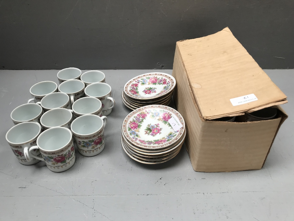 Lot 17 - 2 x 12 piece sets of Chinese coffee cups & saucers
