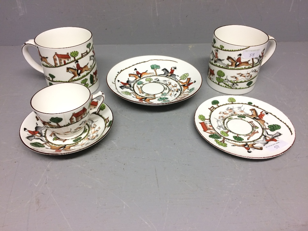 Lot 58 - Crown Staffordshire hunting scene pint mugs x 2, tea cup, saucer, plate & shallow bowl