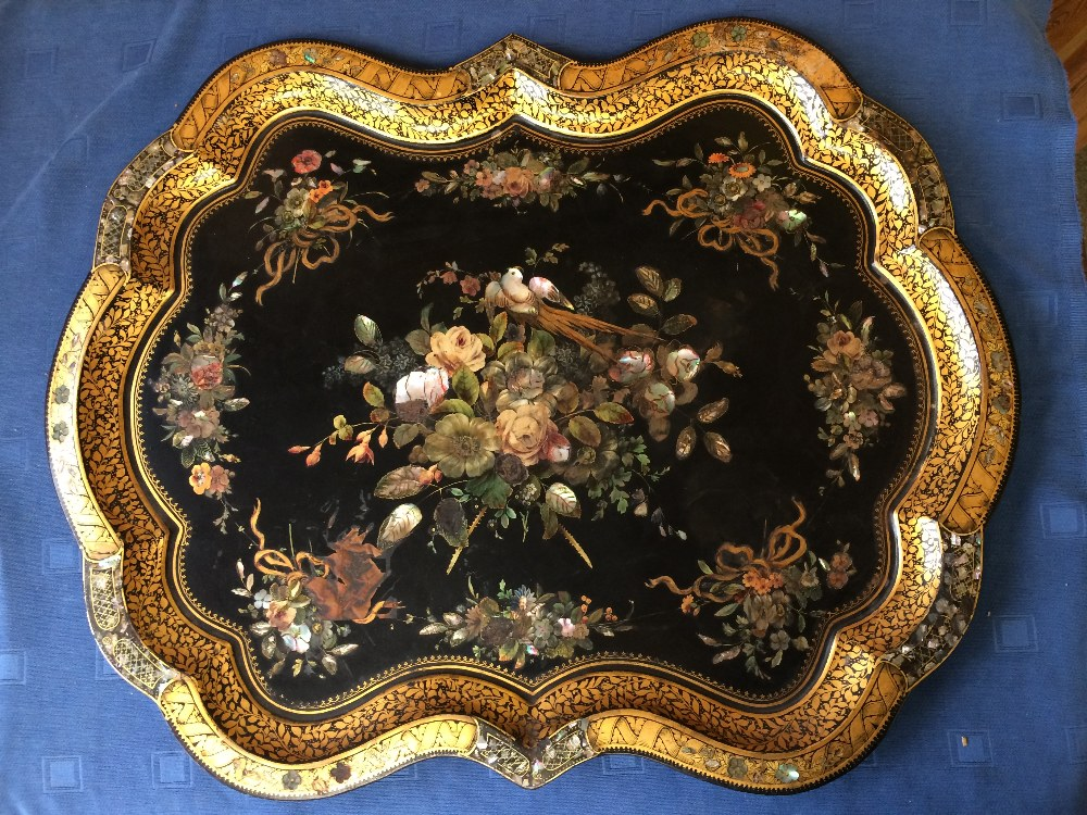 Lot 277 - Good Serpentine shaped gilded & painted toleware tray with Mother of Pearl inlay 80 x 62 cm