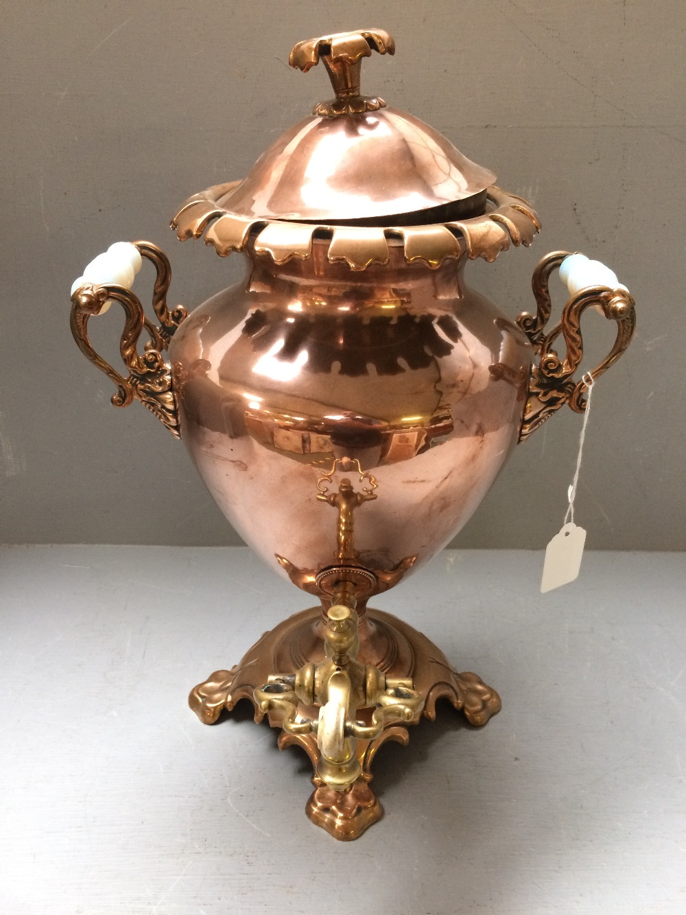 Lot 53 - Georgian copper & brass tea urn
