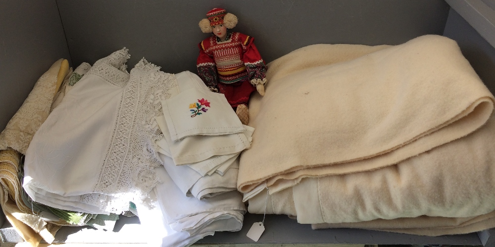 Lot 36 - 1950 s Greek tourist doll in costume together with linen & blankets