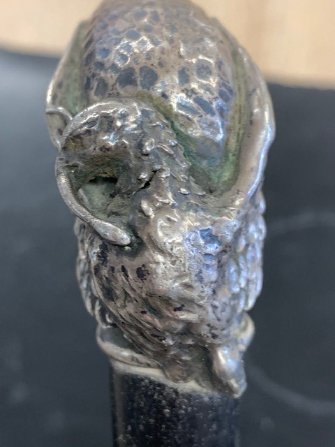 Lot 48 - Continental silver mounted eagle walking cane