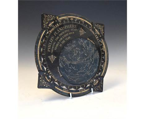 Late 19th Century Philips' Planisphere, with ink inscription verso dated 1892, 31cm diameter