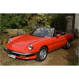 A 1985 Alfa Romeo Spider 3 Registration number A20 LFA Chassis number ZAR8A5417F1021233 Red with