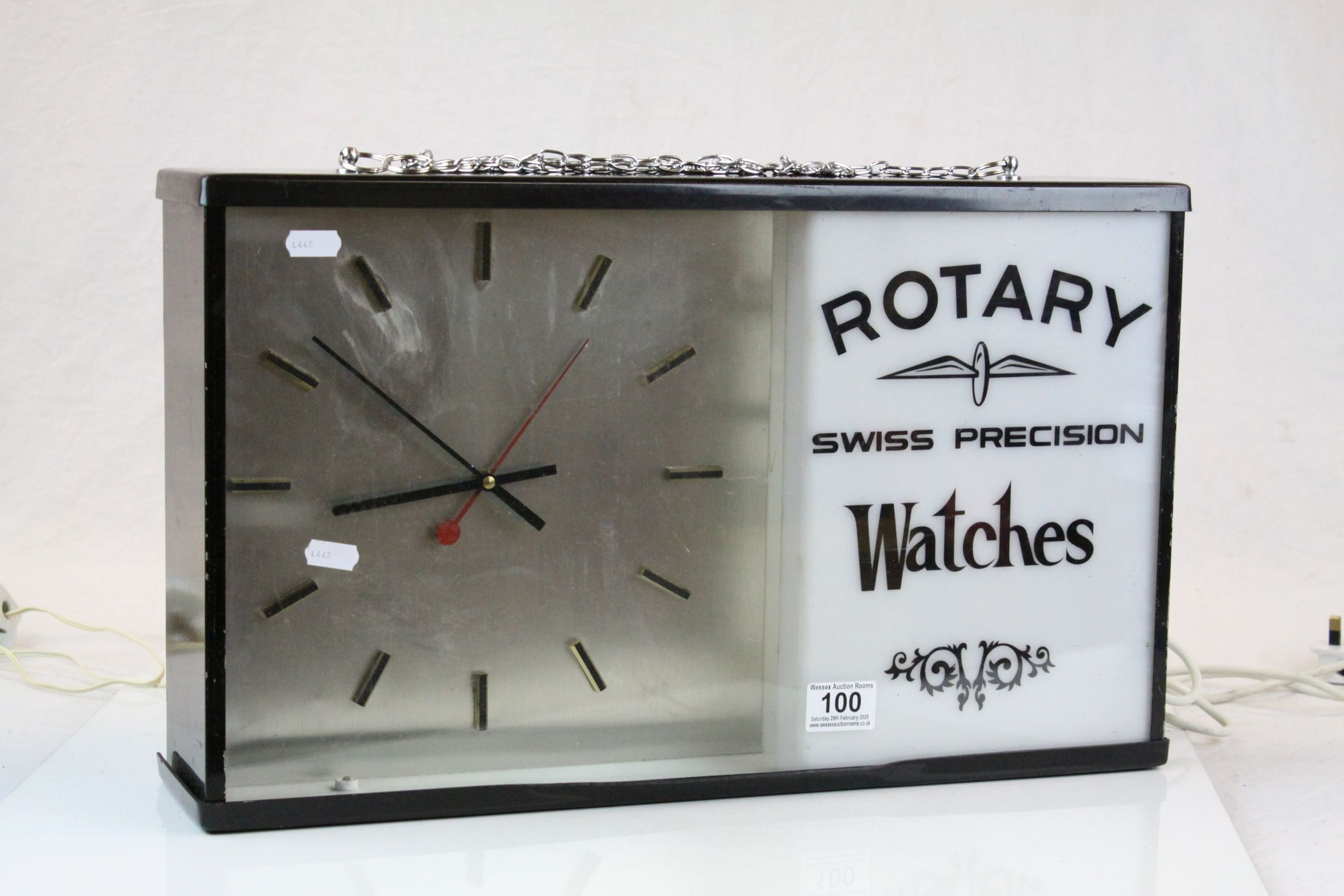 "Advertising electric Wall Clock for ""Rotary Swiss Precision Watches"", measures approx 51 x 31 x - Image 2 of 3"