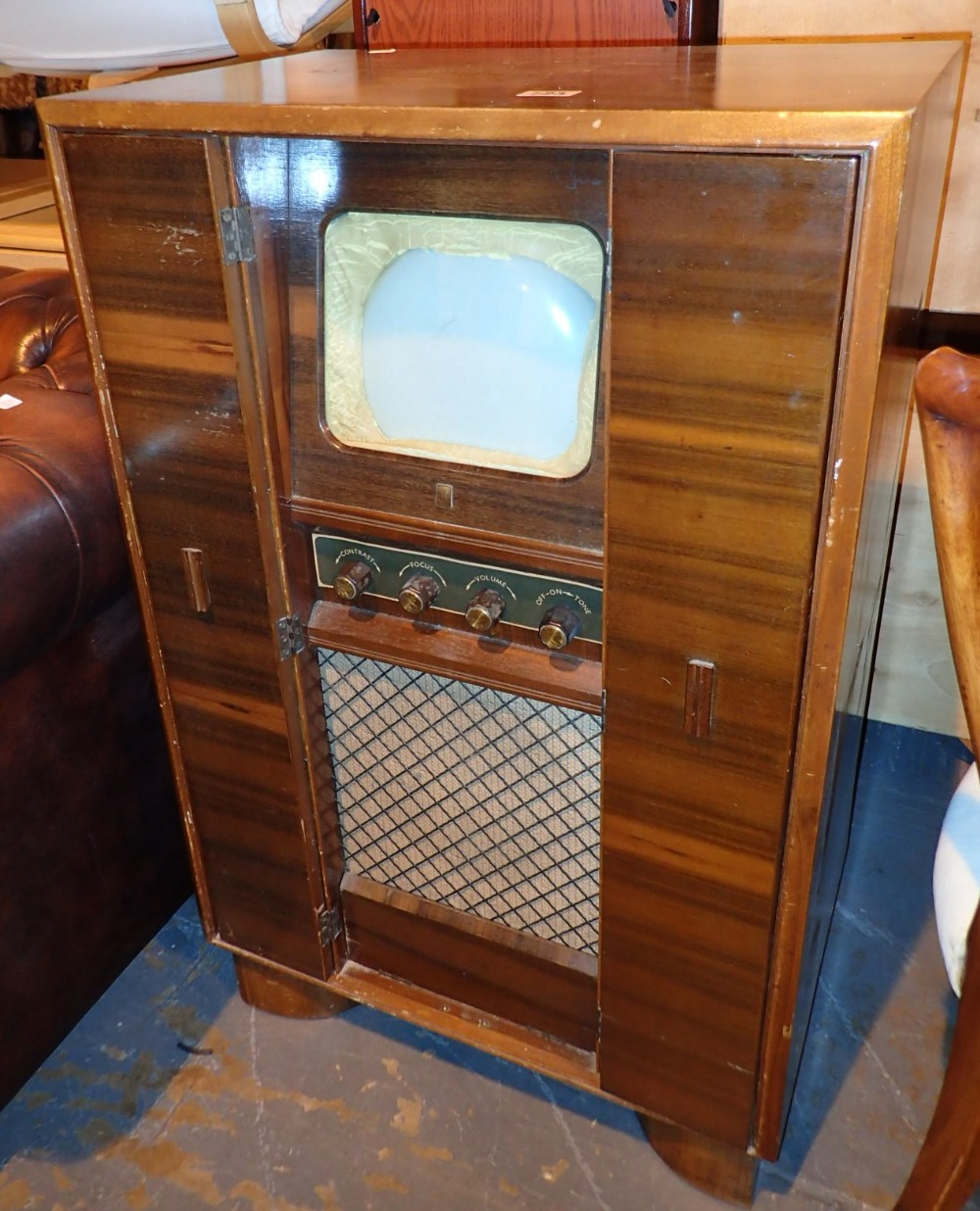 Philco television in a fitted stand