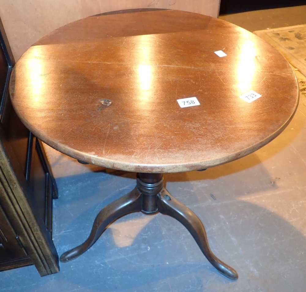 Lot 758 - Circular tilt top table on tripod base