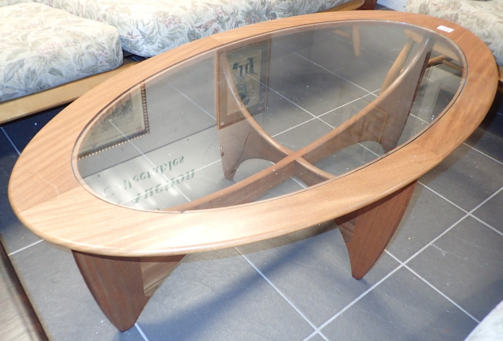 G Plan oval glass top teak coffee table 67 x 120 cm