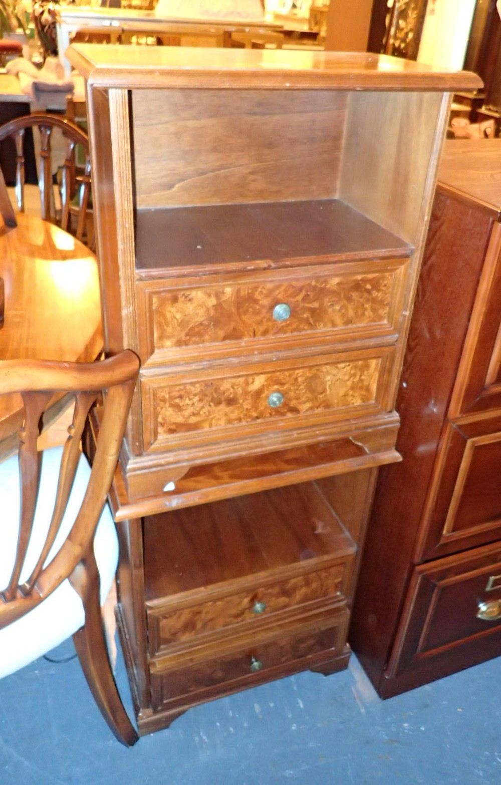 Pair of burr walnut fronted bedside chests with two drawers 52 x 29 x 60 cm H