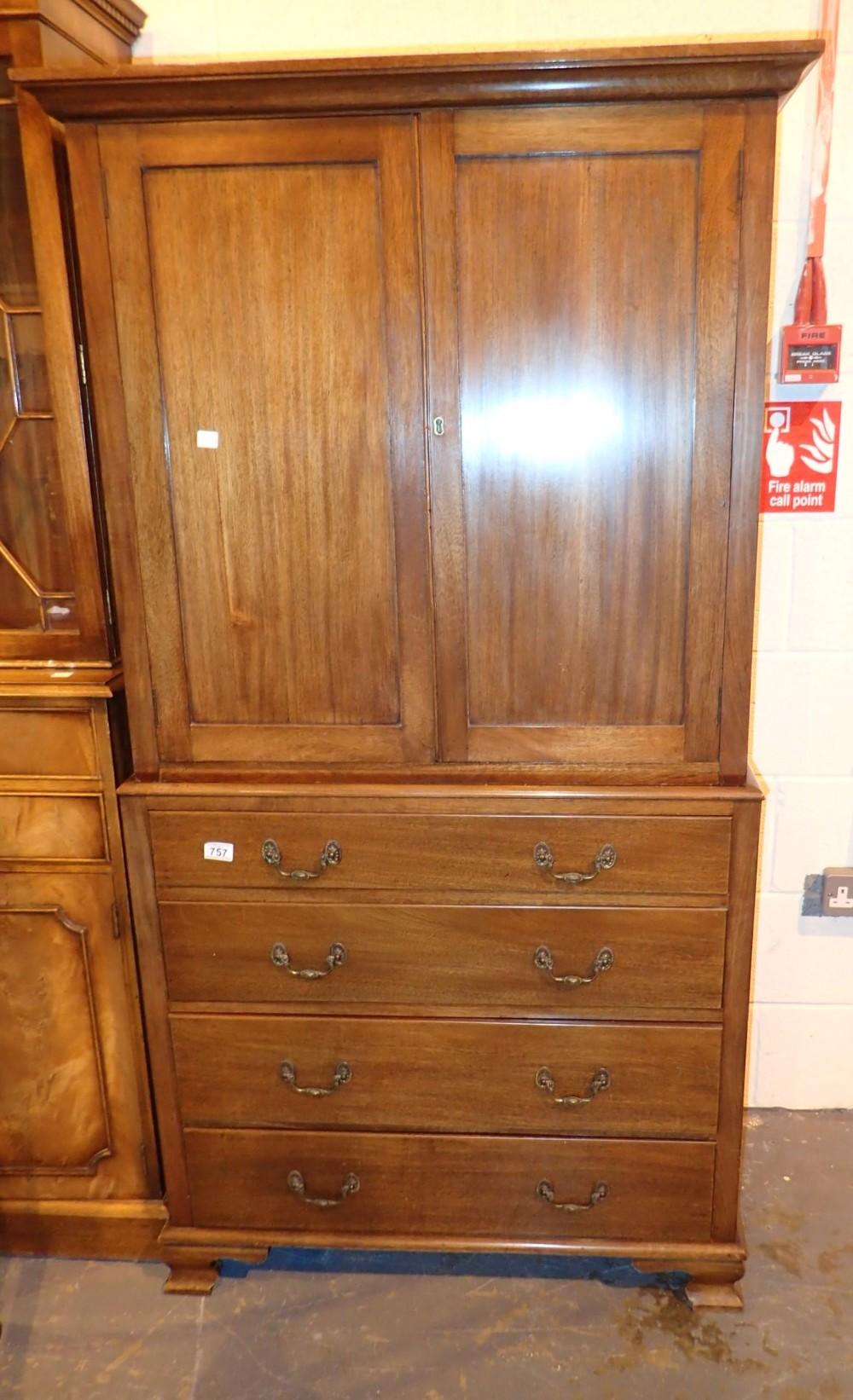 Edwardian walnut glazed tallboy with drawers below 86 x 46 x 178 cm H