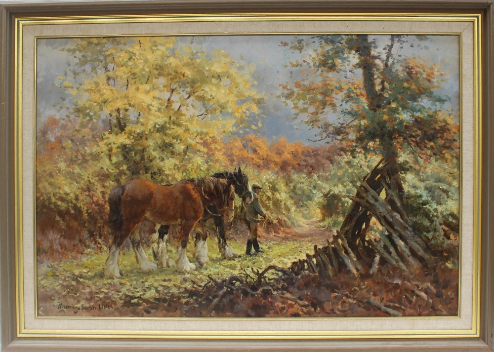 Rosemary Sarah Welch Autumn Carpet Shires horses in a wooded landscape Oil on canvas Signed and - Image 2 of 4