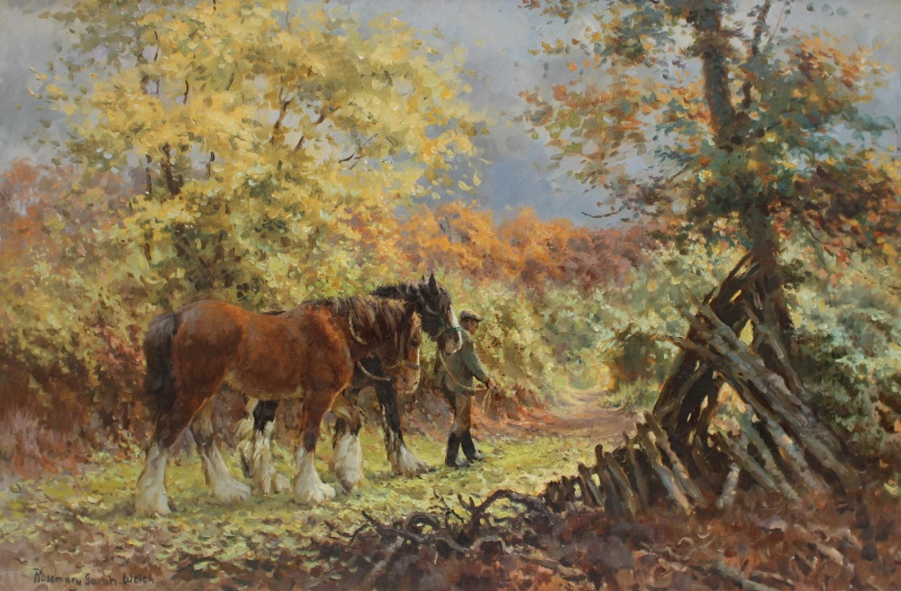 Rosemary Sarah Welch Autumn Carpet Shires horses in a wooded landscape Oil on canvas Signed and