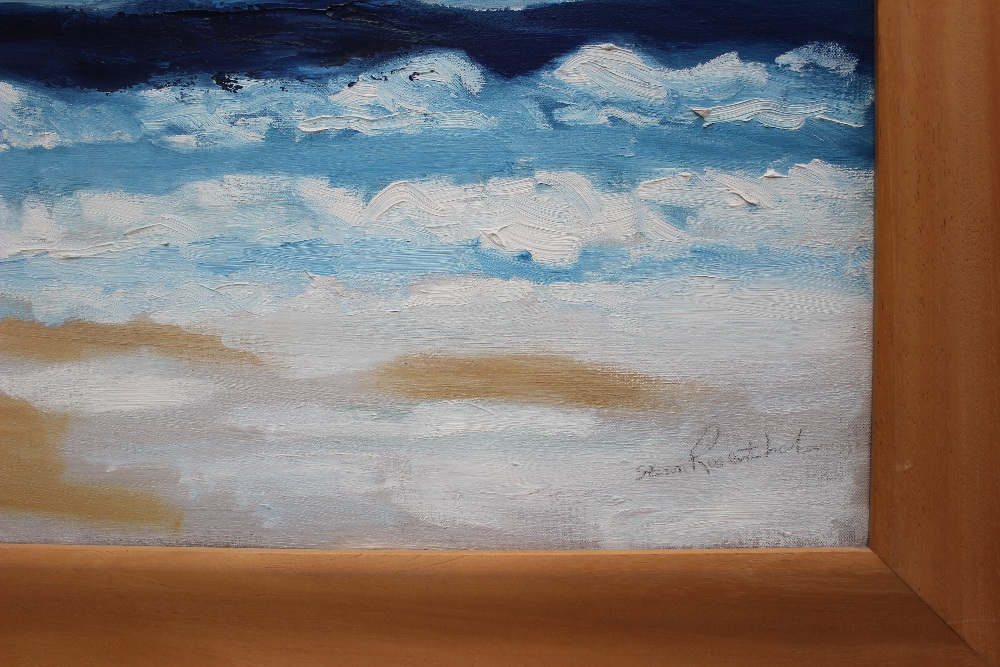 Stan Rosenthal Whitsands Beach Oil on canvas Signed and label verso 121 x 90cm - Image 3 of 4