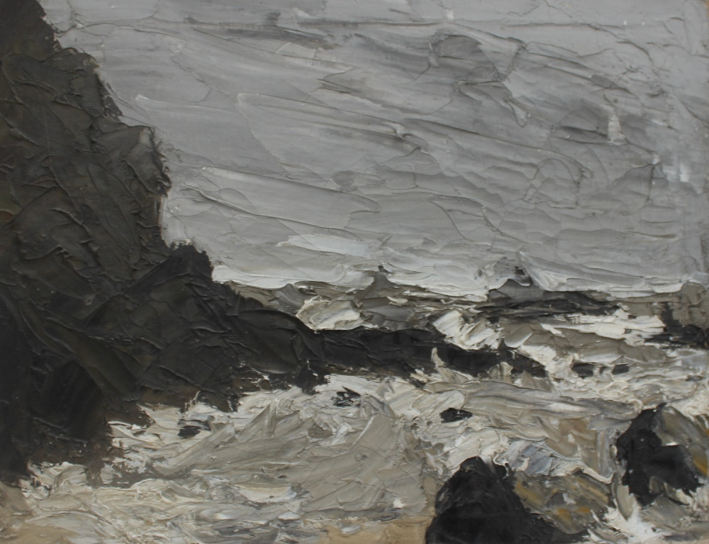 School of Sir Kyffin Williams A coastal scene with rocks in the foreground Oil on canvas 30 x 40cm