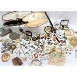 A quantity of costume jewellery including a pocket watch, cameo brooch, rings, faux pearls,