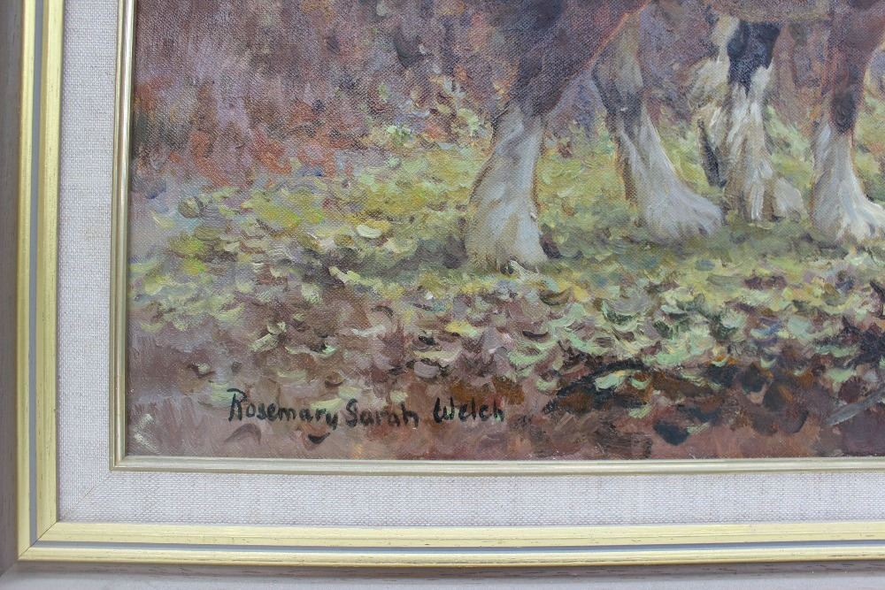 Rosemary Sarah Welch Autumn Carpet Shires horses in a wooded landscape Oil on canvas Signed and - Image 3 of 4