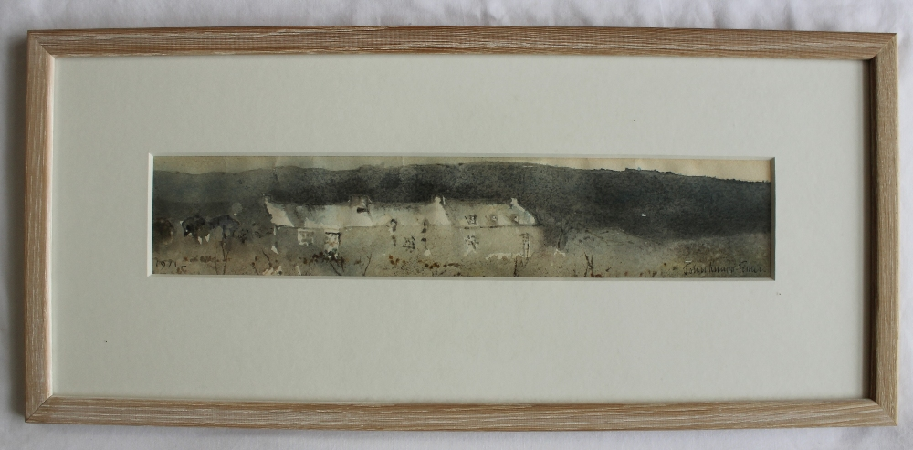 Lot 475 - John Knapp Fisher Pembrokeshire Cottages Watercolour Signed and dated 1971 Label verso 7.5 x 39.