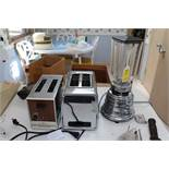 Two toasters, General Electric and Hamilton Beach, and an Osterizer blender