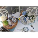 Group: Lazy Susan with salt and pepper shaker and a flower pot goose