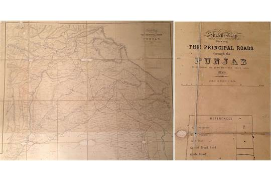 INDIA & PAKISTAN – Punjab Road Map of 1859 Rare early road
