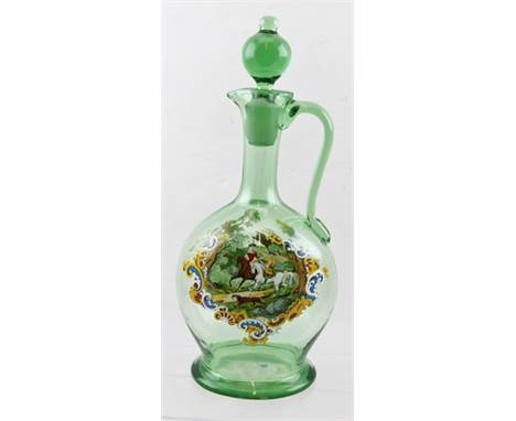 A LATE 19TH CENTURY GREEN GLASS CLARET JUG with enamelled overlay of a Historismus hunting scene by Egermann & Lobmeyr, both