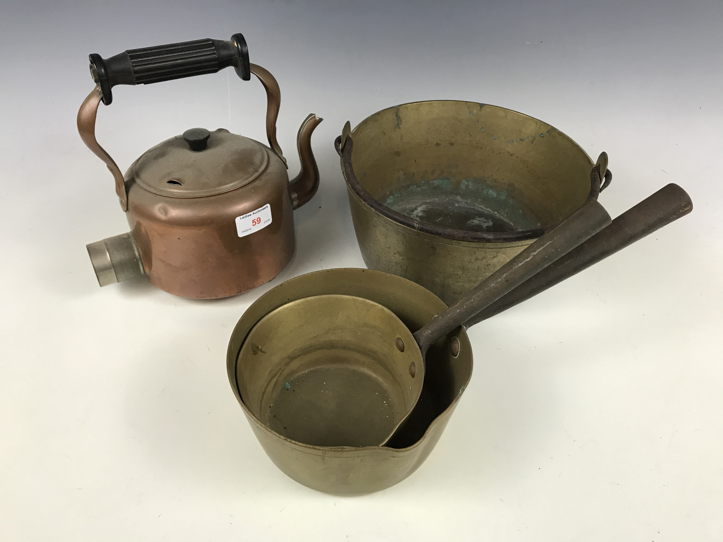 Lot 59 - A brass jam pan together with a kettle and two pans