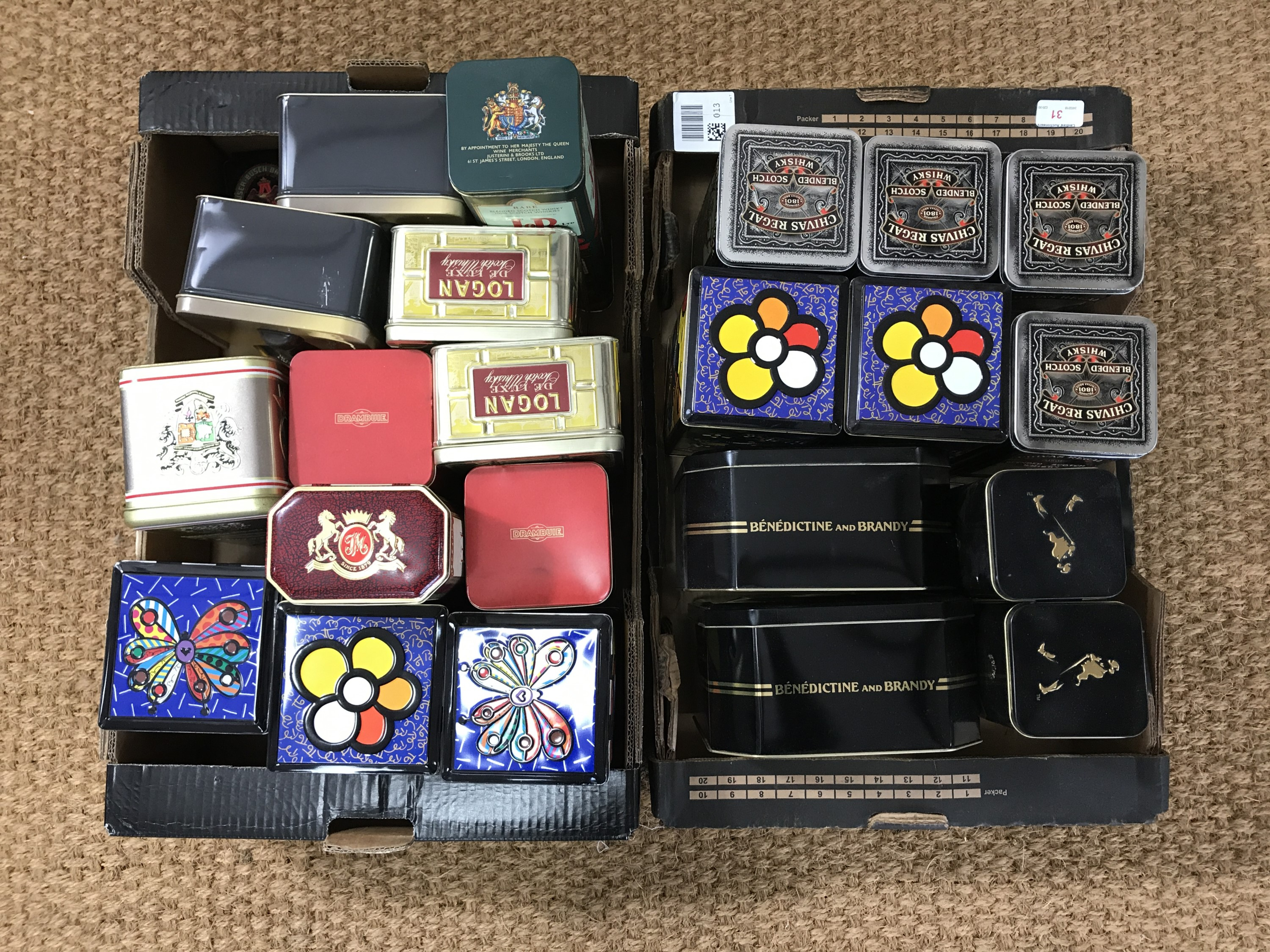 Lot 31 - A large quantity of whiskey and other collectable tins manufactured by Metal Box of Carlisle