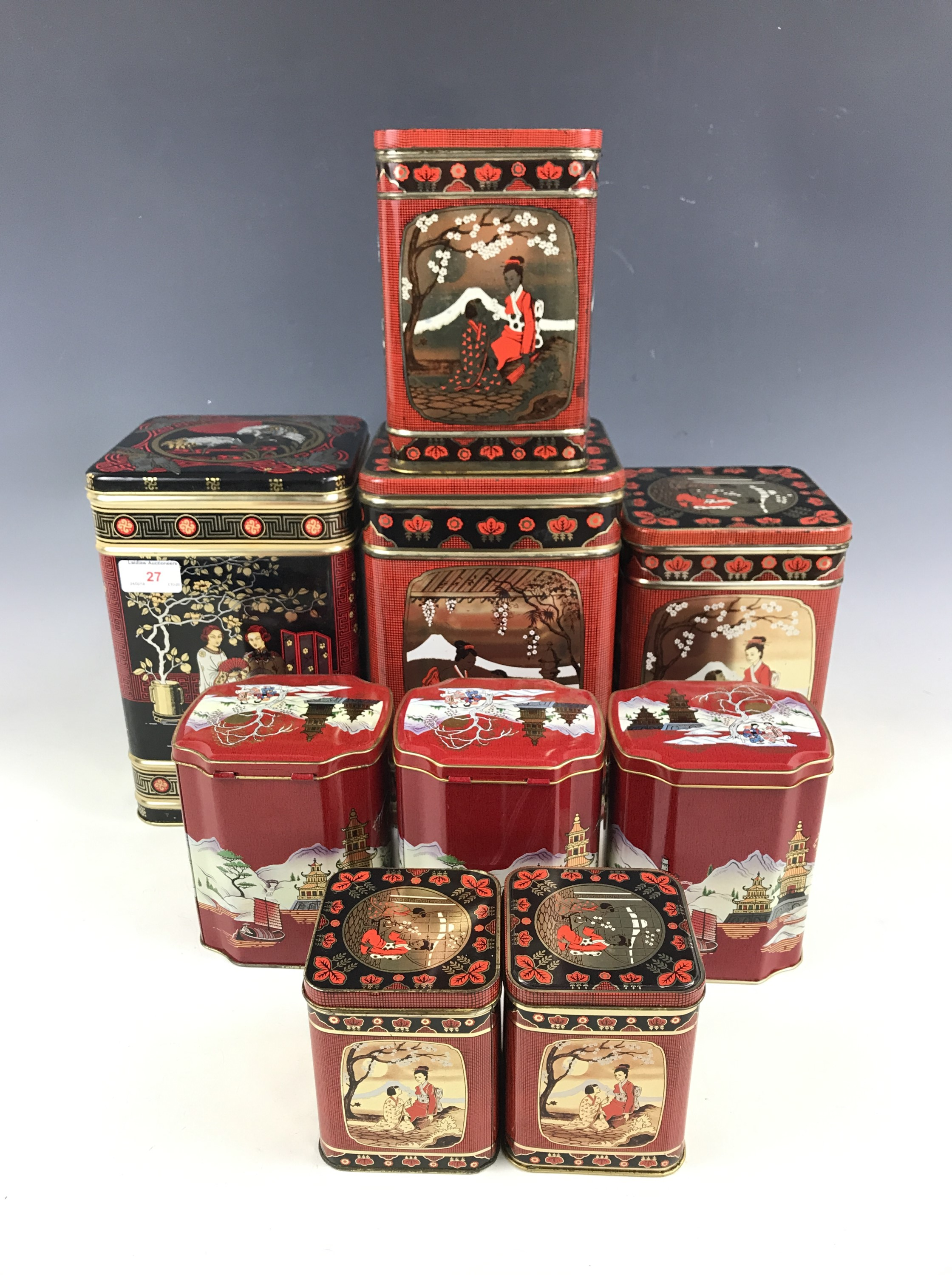 Lot 27 - A quantity of chinoiserie pattern tins manufactured by Metal Box of Carlisle