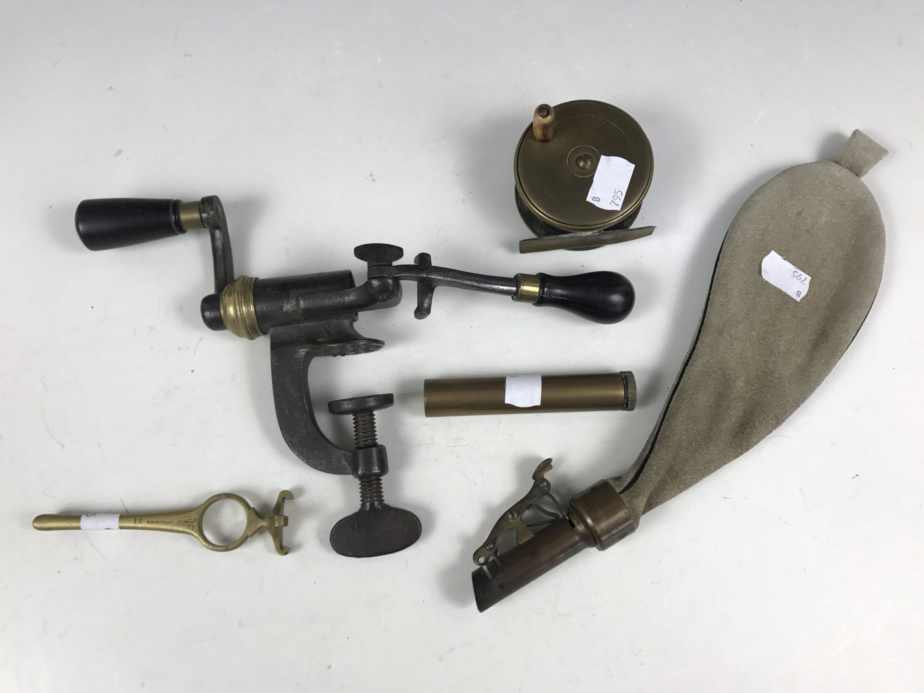 Lot 22 - Sundry antique and later field sports collectables comprising a brass centre-pin fishing reel, a
