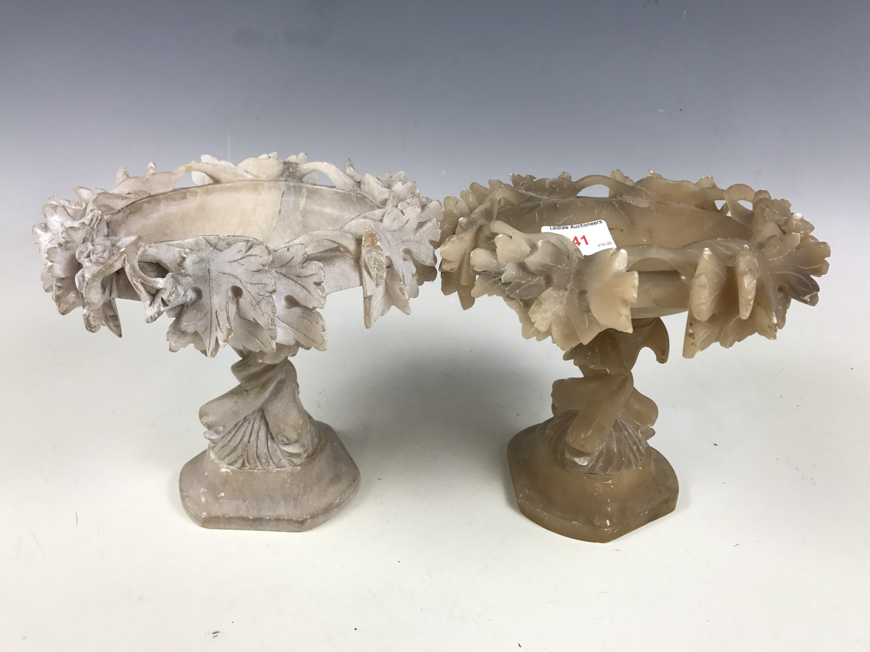 Lot 41 - Two turned and carved alabaster centrepieces