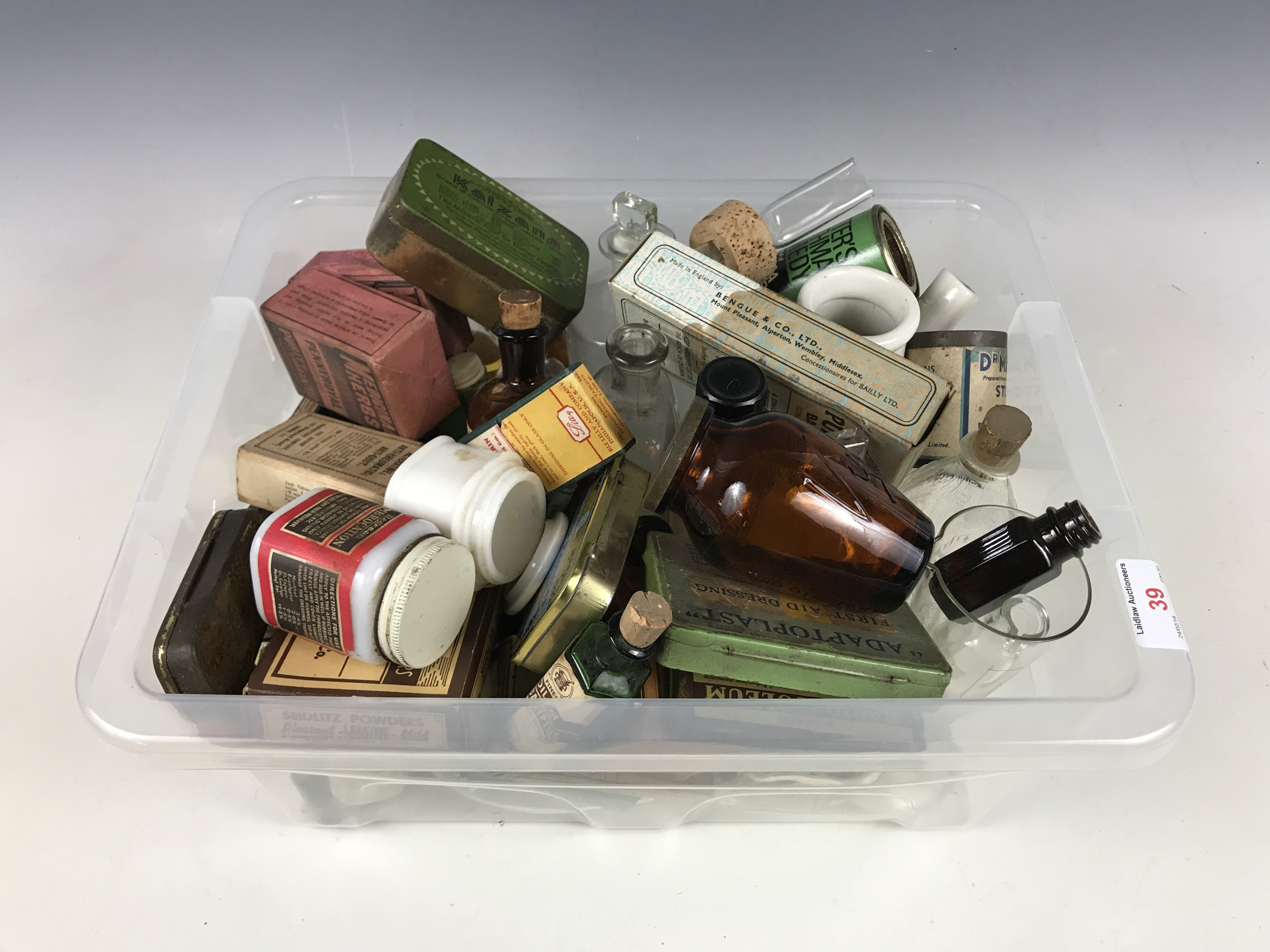 Lot 39 - A quantity of vintage medical and first aid bottles, tins and cartons etc