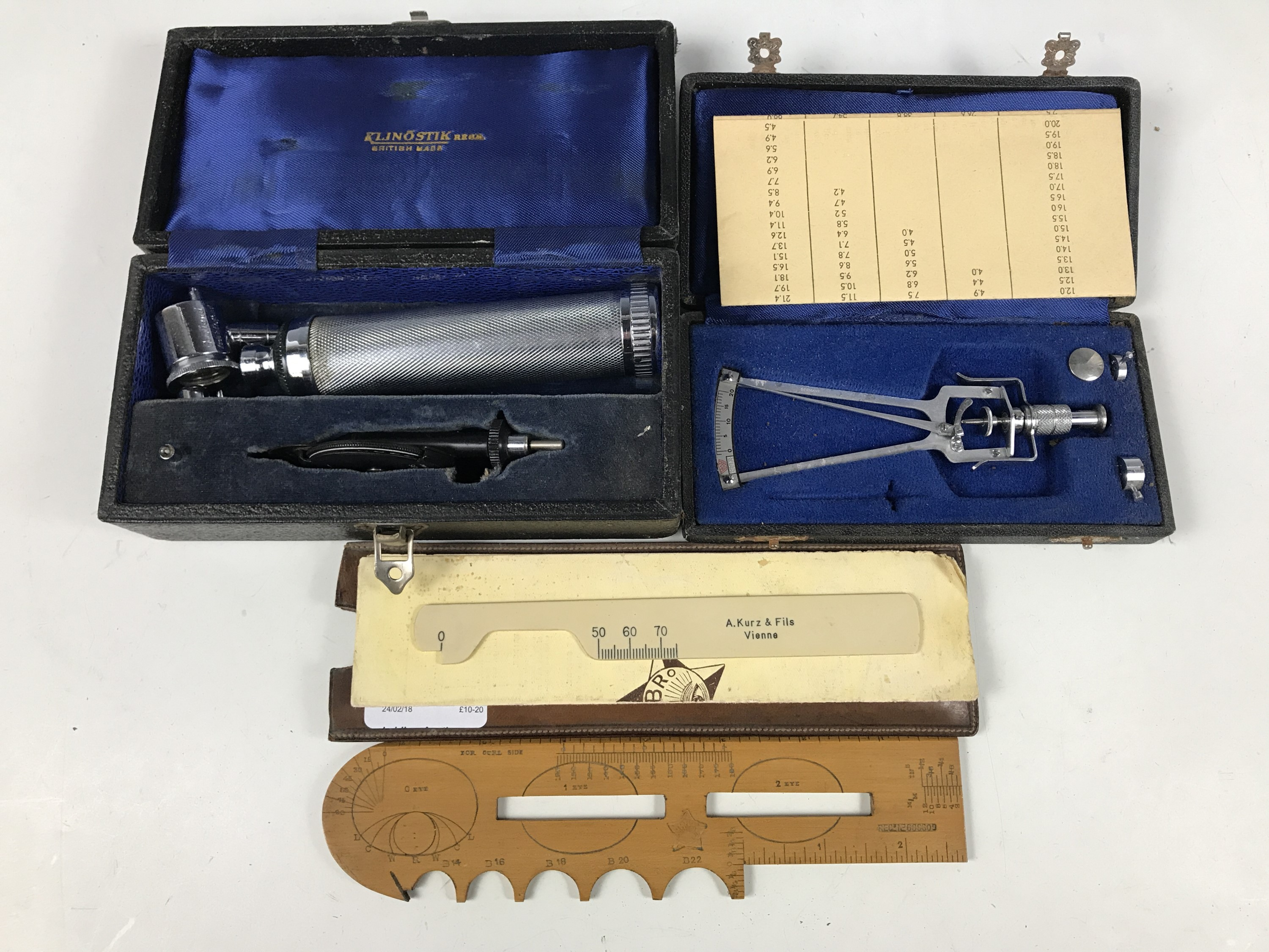 Lot 36 - A group of ophthalmologist instruments including a Kirbro rule