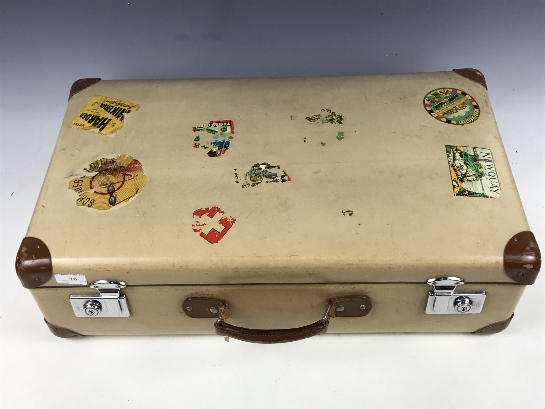"""Lot 16 - A vintage """"Globe-Trotter"""" faux-velum suitcase"""