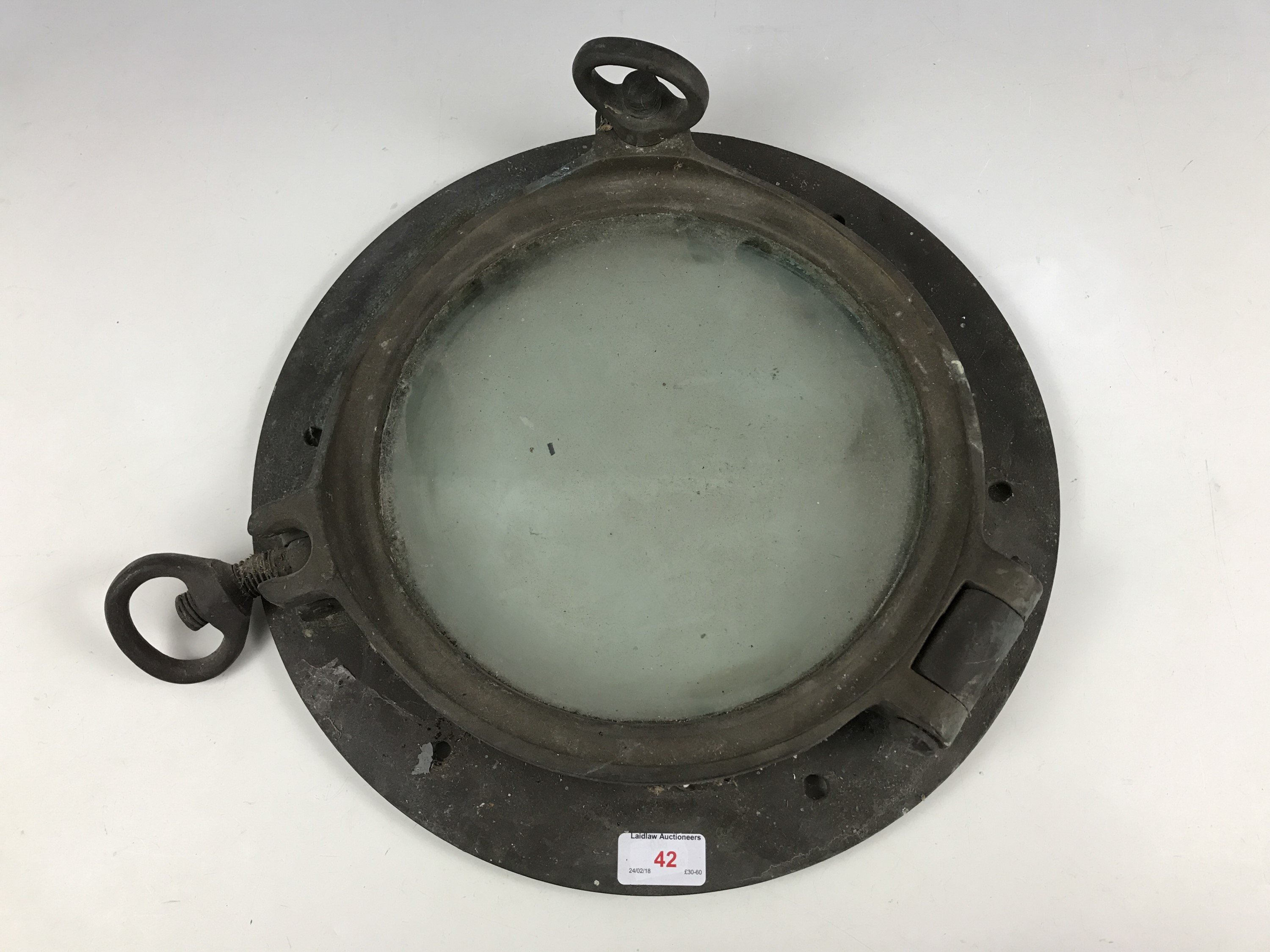 Lot 42 - A 20th Century ships brass porthole, 40 cm diameter