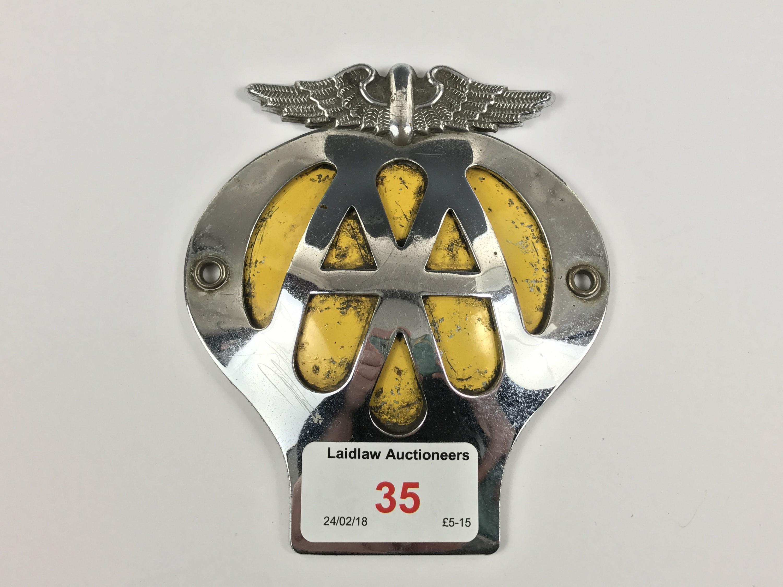Lot 35 - A vintage AA car badge