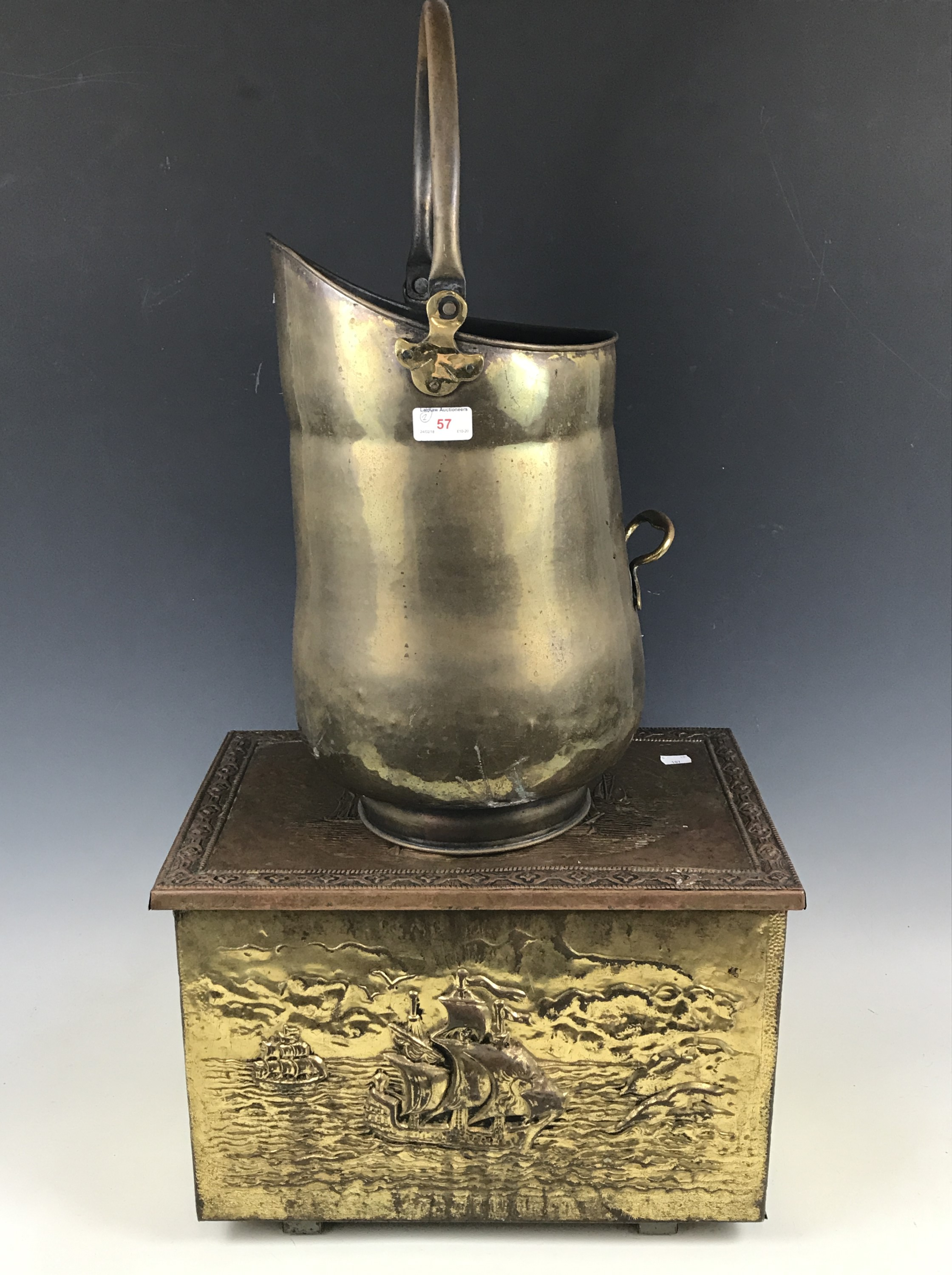 Lot 57 - A brass coal scuttle together with a brass coal box
