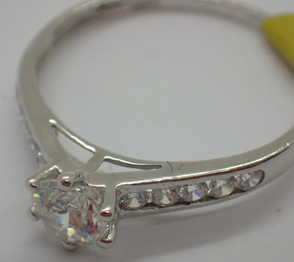 Lot 1258 - 9ct white gold solitaire ring size O