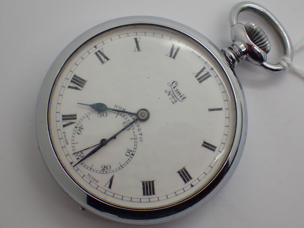 Lot 1259 - Chromium plated Limit No2 open face crown wind pocket watch