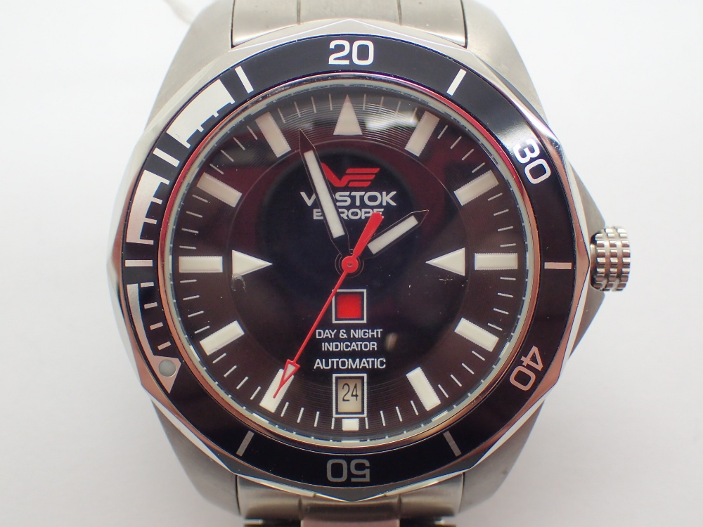 Lot 1257 - Gents automatic Vostok K-3 submarine wristwatch with stainless steel black dial