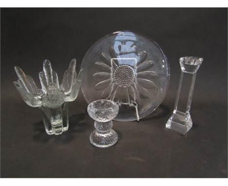 Four pieces art glass including Dartington Platter