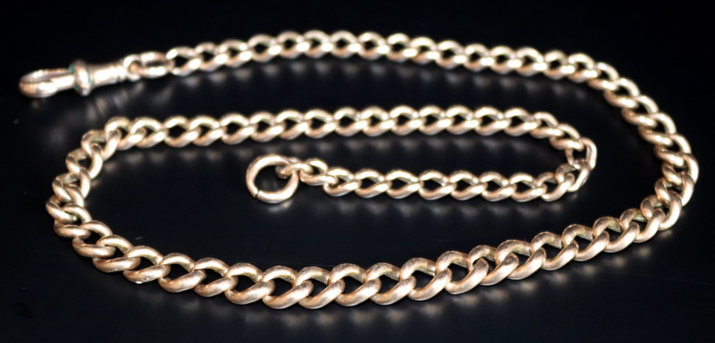 Lot 74a - 9ct Gold Graduating Albert Chain, Length 16 Inches, Stamped To Each Link Rubbed, Weight Approx 13g,